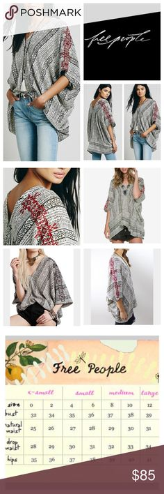"🆕Free People Tribal Beat Printed Kaftan.  NWOT. 🆕Free People Tribal Beat Printed Kaftan, 55% viscose, 45% cotton, washable, 39"" across from left end to right end, 30"" length, slouchy, oversized printed kaftan with a V neckline and a high low hem, beautiful embroidery and sequin accents, along the back shoulders, measurements are approx.  New without tag, never worn.  NO TRADES Free People Tops"