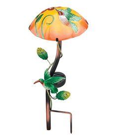 look at this mushroom u0026 hummingbird solar stake