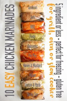 CHICKEN MARINADE - These 10 easy to prepare Chicken Marinade recipes are perfect for spicing up a boring chicken dinner! Pop them into the freezer, use them for the grill (or on the barbecue if your in the UK), oven bake them or slow cook (crock pot) them Chicken Marinade Recipes, Easy Chicken Recipes, Simple Chicken Marinade, Chicken Breast Marinades, Chicken Thigh Marinade, Salmon Marinade, Homemade Marinades For Chicken, Indian Chicken Marinade, Shredded Chicken Recipes
