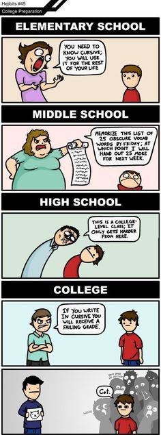 Elementary school vs. Middle School vs. High School vs. College - www.meme-lol.com