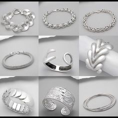 Hallmark 925 Sterling Silver bracelets Gorgeous high-end solid Sterling 925 Silver! 9 styles shown. Pricing please inquire - refer to the bracelet facing photo left - middle - right & row down when inquiring about the prices please ;) THANK YOU SO MUCH! Boll's BITZ Of GLITZ  Jewelry