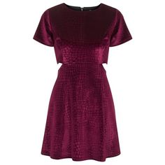 Women's Topshop Velvet Skater Dress (€38) ❤ liked on Polyvore featuring dresses, vestidos, short dresses, skater dress, short sleeve dress, purple dress and print dress