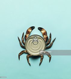 Combination of a can and a crab on a bright blue background