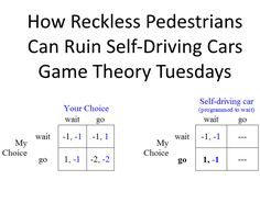 How Reckless Pedestrians Could Ruin Self-Driving Cars. Game Theory, Self Driving, Pedestrian, Cars, Autos, Vehicles, Automobile, Car