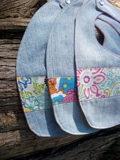 Trio of Girly Repurposed Denim Bibs cute idea