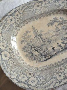 Antique Pastoral Scene Platter FleaingFrance Brocante