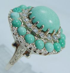 Vintage Jewelry 14K Yellow Gold Turquoise Diamond Cocktail Large Ring 14.2 gr.