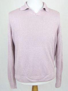 Corneliani Sweater Large Purple Flax Linen Silk Knit No Button Polo Pullover #Corneliani #Polo