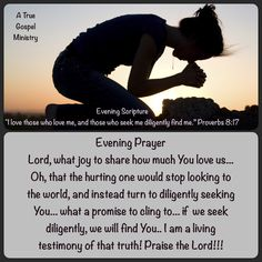 Evening Prayer Lord, what joy to share how much You love us... Oh, that the hurting one would stop looking to the world, and instead turn to diligently seeking You... what a promise to cling to... if  we seek diligently, we will find You.. I am a living testimony of that truth! Praise the Lord!!! #eveningscripture #eveningprayer #praise #atruegospelministry #scripturequote #biblequote #quote #seekgod #godsword #godislove #gospel #jesus #jesussaves #teamjesus #LHBK #youthministry #preach…