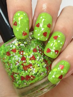 """Mr. Grinch by Noodles Nail Polish ($8.50) """"In Who-Ville they say, that the Grinch's small heart grew 3 sizes that day!"""" Natalie straight up ROCKED this one! The colors are so spot-on with the story, and the little hearts are adorable! It brings me right back to my childhood. I just love it!"""