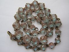 ANTIQUE 1900'S VICTORIAN SAPHIRET OPEN BACK CRYSTAL NECKLACE