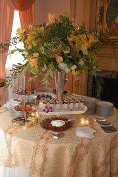 Gold, Cream linens - Dessert display
