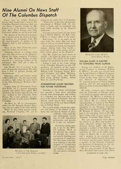 """The Ohio Alumnus, January 1951. """"CORNERSTONE HOLDS RECORDS FOR FUTURE HISTORIANS. Sometime in the future archeologists may unearth a large stone containing records, both phonographic and written, of a forgotten era. At least that is the hope of the School of Dramatic Art and Speech, which placed these records in the cornerstone of the new Speech Building [Kantner Hall] on College Street."""" :: Ohio University Archives"""