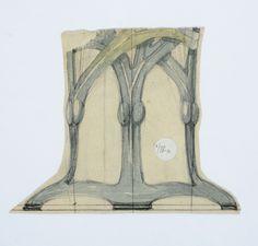 Gustav Gaudernack. Watercolor sketch for kerosene table lamp stand, second half of (1). Stylized seaweed.