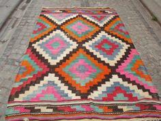 Vintage Turkish Kilim Rug Wool Kilim Rug Bohemian by Sheepsroad
