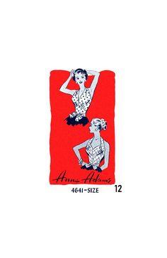 Rockabilly Halter Top with Sweetheart or V-Neckline, Bust Waist Hip Anne Adams 4641 Vintage Sewing Pattern Reproduction 50s Rockabilly, Belt Tying, 1950s Fashion, Vintage Sewing Patterns, Neckline, Fabric, Prints, Dress, Tela