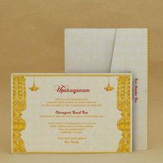 Golden Entrance Saffron Thread Ceremony Invitation Cards E Card Designs
