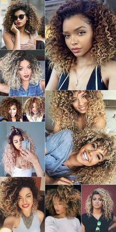 Cabelos Cacheados Coloridos: ruivo, platinado, mechas, ombré hair e cores fantasia - Curly Hair color: red head, blonde, platinum, wicks, ombre hair and fancy colors. #CurlyHair #CurlyGirls #CabeloCacheado #CabelosCacheados #CachosPlatinados #PlatinumCurly #Inspiração #Hairstyle #HairColor #CabelosColoridos