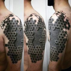 Guy With Hexagon 3d Geometric Arm Tattoo Design