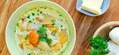 Kremet grønnsaksuppe Hummus, Cantaloupe, Mashed Potatoes, Vegetarian Recipes, Dinner Recipes, Favorite Recipes, Fruit, Ethnic Recipes, Vegan