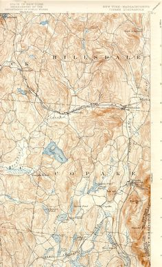 One quadrant from a 1904 USGS map of Copake Lake,N.Y.shows Hillsdale,NY. www.galeyrie.com