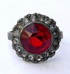 Vintage Cocktail Ring Art Deco UNCAS Red and Clear Cut by ChezVous