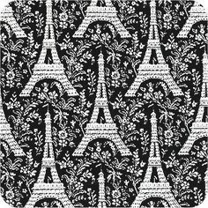 Eiffel Tower on Black - The Virginia Quilter
