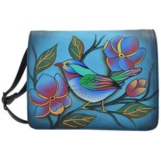Anna by Anuschka Hand-Painted Leather Small Flap Crossbody Organizer (¥8,265) ❤ liked on Polyvore featuring bags, handbags, shoulder bags, lonesome bird denim, crossbody purses, blue leather shoulder bag, blue leather handbags, leather shoulder handbags and leather crossbody purse