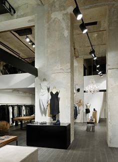 Raw and unfinished retain stores with overhead studio lights | https://www.linkedin.com/company/city-lighting-products