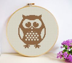 Round Owl Cross Stitch Pattern PDF Instant by HeritageStitch