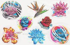 This is my first sheet of a set of tattoo flash i'm working on. There will be 12 sheets in total. They will be printed 11x17 and for sale as soon as the last sheet is complete. My Tattoo and D...