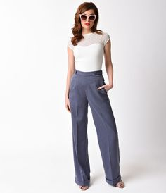 Retro Pants & Jeans Banned 1940s Silver High Waist Party On Stretch Pants $58.00 AT vintagedancer.com