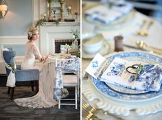 vintage French themed wedding styled shoot with toile decor / Kristen Weaver Photography
