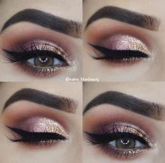 Glam Pink und Gold Eye Makeup Idea Make-up, . - Glam Pink and Gold Eye Makeup Idea makeup, 43 Glitzy NYE Makeup Ideas Silver Eye Makeup, Pink Eye Makeup, Natural Makeup Looks, Eye Makeup Tips, Cute Makeup, Smokey Eye Makeup, Party Makeup, Makeup Inspo, Makeup Products