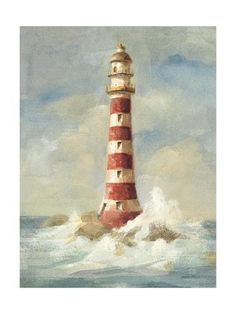 Tangletown Fine Art 'Lighthouse II' by Danhui Nai Painting Print on Wrapped Canvas Canvas Artwork, Framed Artwork, Canvas Wall Art, Wall Art Prints, Fine Art Prints, Poster Prints, Canvas Prints, Framed Wall, Wall Mural