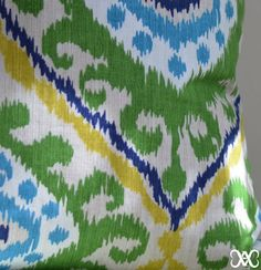 Pillow Cover Richloom Ikat Green Blue and Yellow by AccentsAigus
