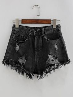Shop Bleach Wash Distressed Denim Shorts at ROMWE, discover more fashion styles online. Distressed Denim Shorts, Denim Shirts, Denim Fabric, Black Fabric, Mode Outfits, Short Outfits, Summer Outfits, Fashion Outfits, Denim Shorts Outfit