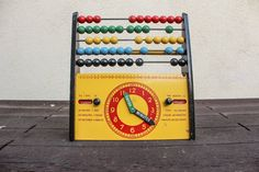 Vintage Mid Century Swedish 1960s Brio Abacus, Clock and Calendar Learning Toy