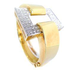 Elegant 1970s Diamond & Gold Bracelet
