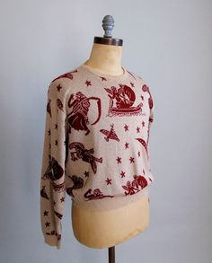 Expressions by Campus  SALE Vintage 1960s Sweater  60s 70s Novelty Mens by RaleighVintage