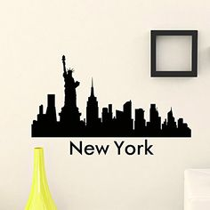 Wall Sticker Vinyl Art Mural New York City Skyline City Silhouette Special Wall Decals For Home Decoration Vinyl Wall Decals, Wall Sticker, New York Theme Party, New York City, Silhouette Vinyl, New York Skyline Silhouette, Decoration Inspiration, Mural Art, Poster