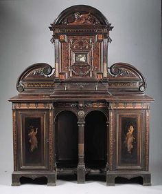 A Rare Herter Brothers Inlaid and Painted Rosewood Cabinet, c. 1870, New York.