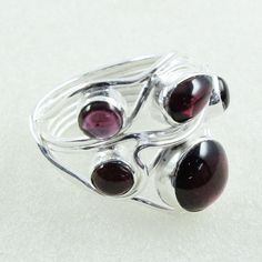 Garnet Stone Beautiful Design 925 Sterling Silver Ring by JaipurSilverIndia on Etsy