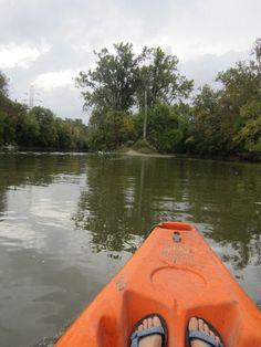 Ahhhh...a peaceful kayak ride on the Fort Wayne rivers. That's Stevie's Island straight ahead.