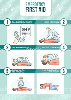 Emergency first aid cpr procedure with stick figures giving rescue breath and cardiomanipulatory resuscitation Illustration , Cpr Procedure, How To Give Cpr, First Aid Procedures, Cardiopulmonary Resuscitation, First Aid Cpr, First Aid For Kids, Cpr Training, Emergency First Aid