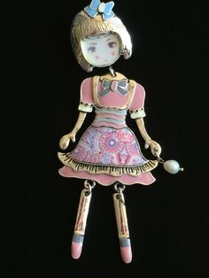"""SILVER PURPLE MOVABLE DRESS UP LADY CHILD GIRL RAG BABY DOLL BROOCH JEWELRY 4"""" #Unbranded #PinBroochJewelry"""