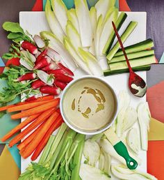 Bagna Cauda with chicory, cucumber, fennel, celery, carrot and radish.