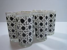 High Ball Glasses Set of Six Black and White by cityfleas on Etsy, $32.50