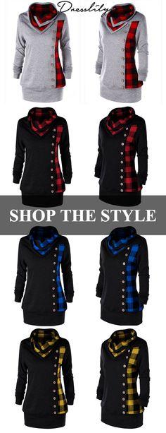 c5e5f1aac3e Free shipping over $39. Plus Size Plaid Cowl Neck Tunic Sweatshirt. # sweatshirt #