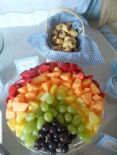 Rainbow fruit salad at a Wizard of Oz birthday party! See more party planning ideas at CatchMyParty.com!